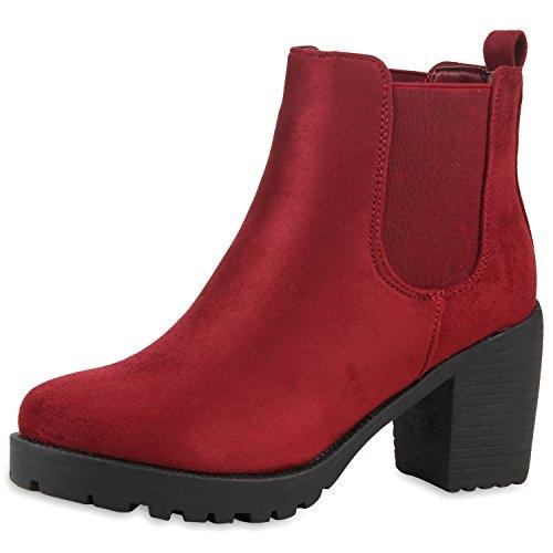 best-boots Damen Plateau Stiefelette Chelsea Boots Burgund Nuovo