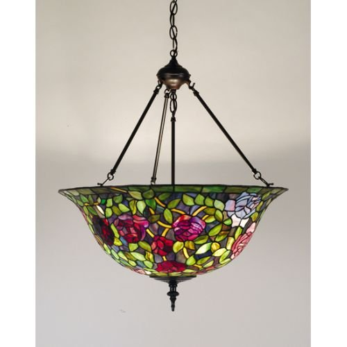Meyda Tiffany 77786 Rosebush Inverted Pendant Light Fixture, 24