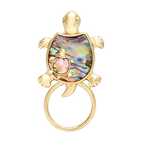 MANZHEN Gold Sea Turtle Natural Abalone Shell Magnet Clip Magnetic Eyeglass Holder Brooch Jewelry (Gold-Turtle - Gold Shell Brooch