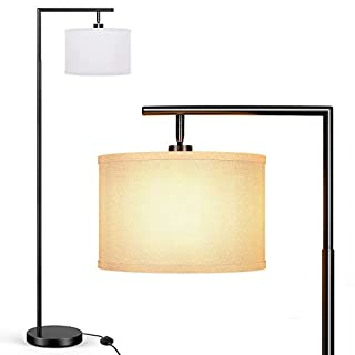 BesLowe Black Floor Lamp for Living Room, 64inch Modern Standing Lamp with White Drum Shade, Tall Pole Overhangs Reading Lamp with Adjustable Lampshade for Bedroom Hotel Office, Simple Design