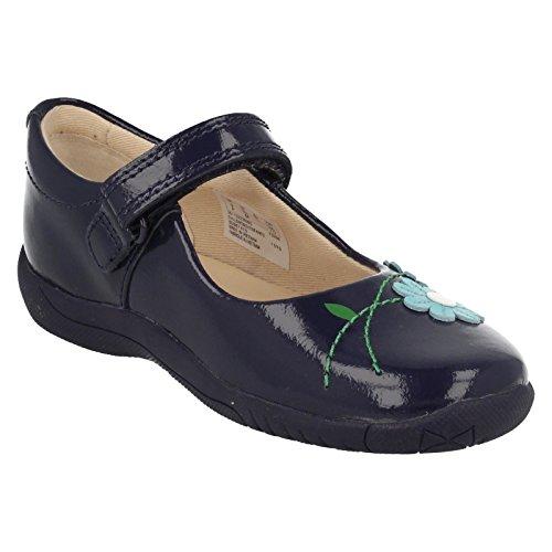Clarks filles extra-scolaire Binnie Confiture Inf Chaussures en cuir en bleu marine brevet - Bleu - bleu,
