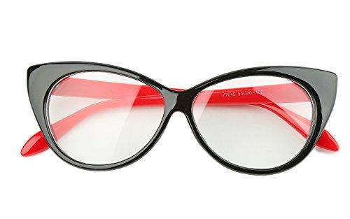 Beison Vintage Cateye Optical Eyeglasses Frame Plain Glasses Clear Lens (Black frame with red temples, 54mm) (54 Mm Eyeglasses)