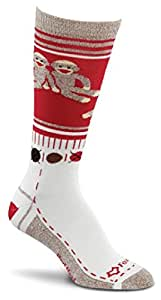 Fox River Women's Red Heel Monkey Friends Merino Wool Crew Socks, Red, Small