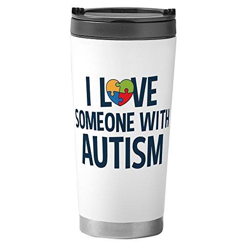 CafePress - Love Someone With Autism Travel Mug - Stainless Steel Travel Mug, Insulated 16 oz. Coffee Tumbler (Puzzle Style Ribbon Awareness)