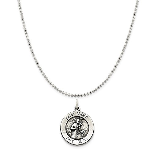 Sterling Silver Antiqued Saint Gerard Medal on a Sterling Silver Ball Chain Necklace, ()