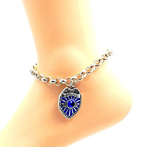 Police Shield Anklet Stainless Steel Ankle Bracelet Men Women All Sizes Thin Blue - Sexy Shield