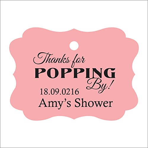 100 PCS Personalized Baby Shower Favors Tags Custom Quote Thank You For Popping By Baby Shower Gift Hang Tags - Quote Tag