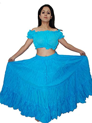 Wevez Women's Belly Dance Cotton 12 Yard Skirt, One Size, Turquoise ()