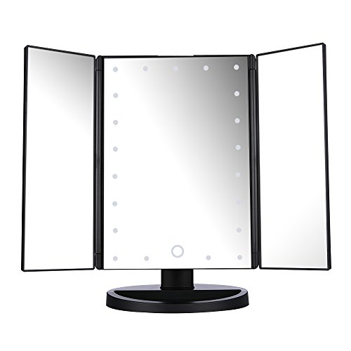 Easehold Led Lighted Vanity Mirror Make Up Tri-Fold with 21Pcs Lights 180 Degree Free Rotation Table Countertop Cosmetic Bathroom Mirror(Black) by Easehold