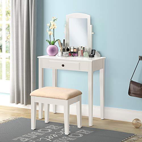 Harper & Bright Designs Vanity Table Set Make-up Dressing Table Vanity Table with Mirror and Cushioned Vanity Stool 1 Drawer (White) 1 Drawer Bedroom Vanity