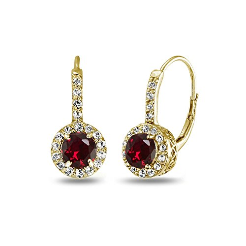 Yellow Gold Flashed Sterling Silver Created Ruby & White Topaz Round Dainty Halo Leverback Earrings (Jewelry Ruby Gold Set)