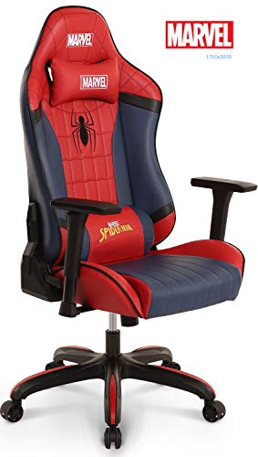 Neo Chair Licensed Marvel Spider Man Gaming Chair 400lb High End Ergonomic Neck Lumbar Support 4D Adjustable Armrest Recliner Computer Desk Office Executive Premium Leather Racing Chair, - Licensed Kids Decor