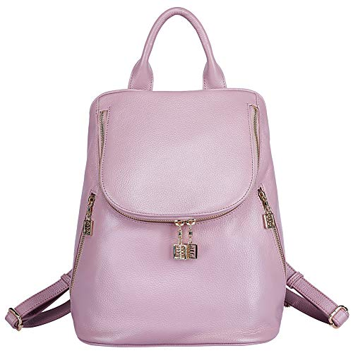 BOYATU Leather Backpack Purse for Women Elegant School Bags Ladies Rucksack (Pink)