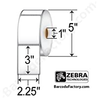 Zebra Technologies 10010042 Z-Select 4000D Paper Label, Direct Thermal, Perforated, 2.25 x 3, 1 Core, 5 OD, 840 Labels per Roll (Pack of 6)