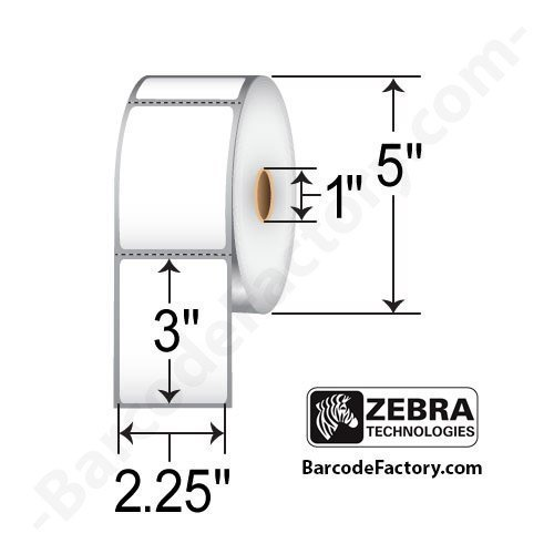 Zebra Technologies 10010042 Z-Select 4000D Paper Label, Direct Thermal, Perforated, 2.25