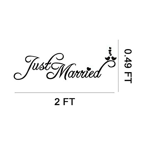 Just Married Car Window Decal Just Married Bunting Banner Bundle Konsait Just Married Car Sticker 7 23in with Garland Banner for Wedding Honeymoon Car Decoration Newlywed Wedding Gift