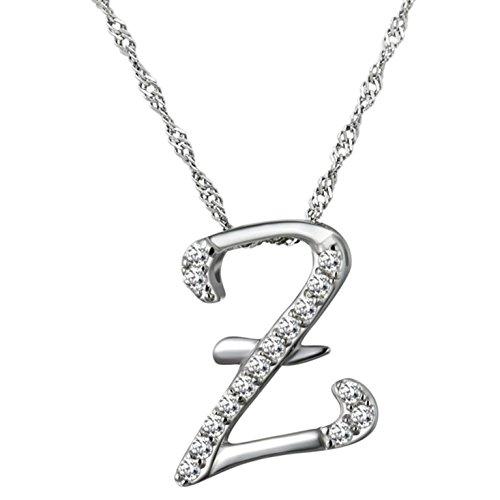 Epinki Women Girls 925 Sterling Silver Necklace Letter Z Cubic Zirconia Silver