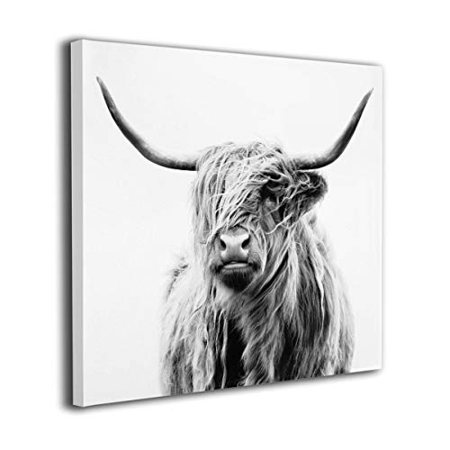 TREEWw Black and White Highland Cow Wall Painting Prints Contemporary Artwork Home Decorations ()