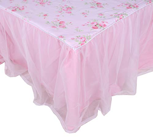 LELVA Dust Ruffled Bed Skirts Queen Size Wrap Around Lace Bed Ruffle with Platform 18 inch Deep Drop Cotton Floral Girls Bed Sheets Pink