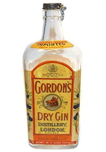 Vintage Gordon's Dry Gin Glass Liquor Bottle with Original Cap & Labels