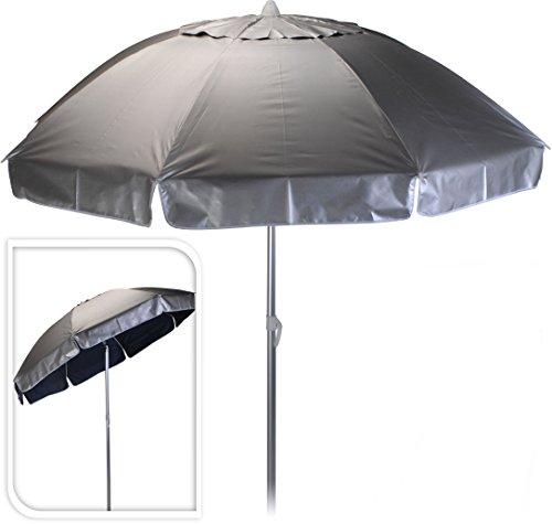Alu Sonnenschirm mit 98% UV Schutz - knickbarer Schirm mit 200 cm Durchmesser aus Aluminium - mit