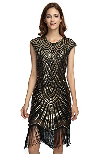 Deargles Women's Flapper Dresses 1920s Beaded Fringed Classic Gatsby Dress XPR002 Black Gold XL