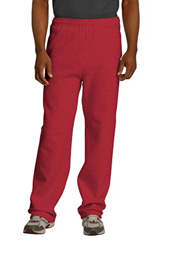Sportoli174; Men's Essential Basic Open Bottom Lightweight Fleece Jogger Sweatpants - True Red (Size Medium)