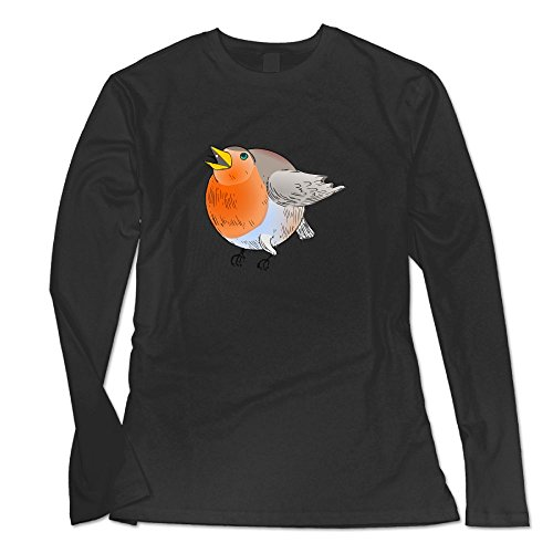 Ongshuquwe Cartoon Fat Bird Women's Casual Long-sleeved Round Neck T-shirt Autumn And Winter L Black (Feeder Bird Barcelona)
