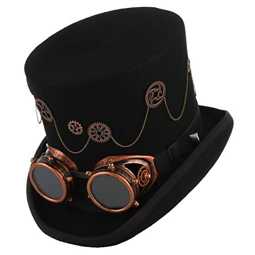 GEMVIE Men Wool Steampunk Top Hat with Goggles Gears Burning Victorian Top Hat -