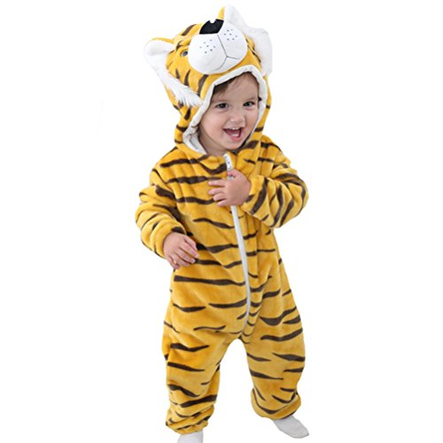 MAOMAHREWW Unisex Baby Boys Girls Warm Hooded Flannel Onesie Outfit Zipper Pajamas Size 100(18-24M) (Tiger)