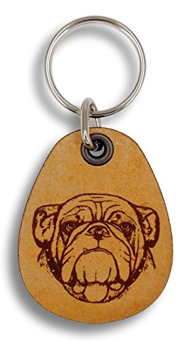 ForLeatherMore - English Bulldog - Genuine Leather Keychain - Pet Key ()