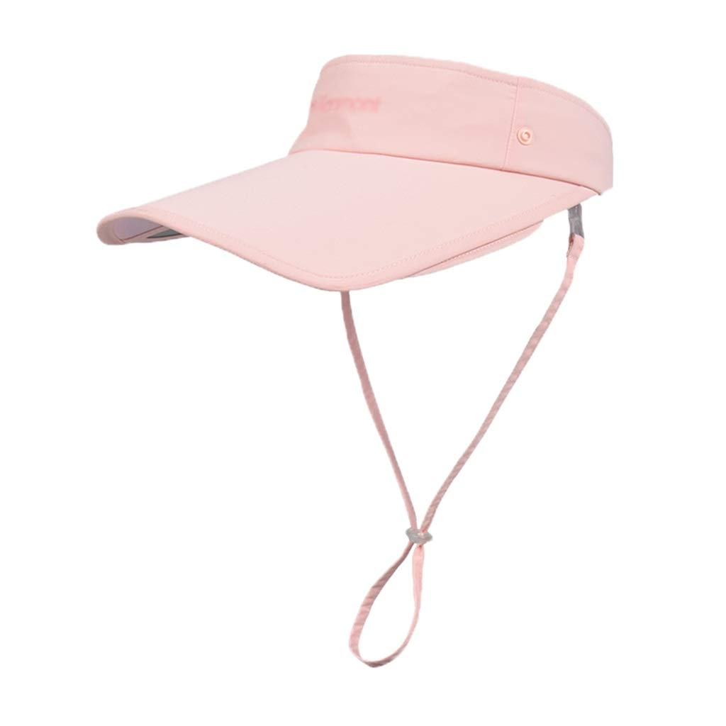 Summer Visor Detachable Telescopic Baseball Cap Outdoor Riding Hiking Cap 360° Predective Breathable Light and Long hat Solid color (color   Pink)