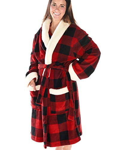Moose Plaid Soft Bathrobes for Men and Women by LazyOne | Animal Pattern Plush Robes Unisex (L/XL) (Plaid Robe Womens)