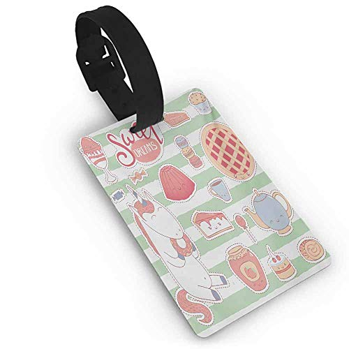 Favorite brand luggage tags Sweet Dreams,Various Desserts in Cartoon Style Funny on Green Stripes Unicorn Eating Donut,Multicolor Label Travel Accessories
