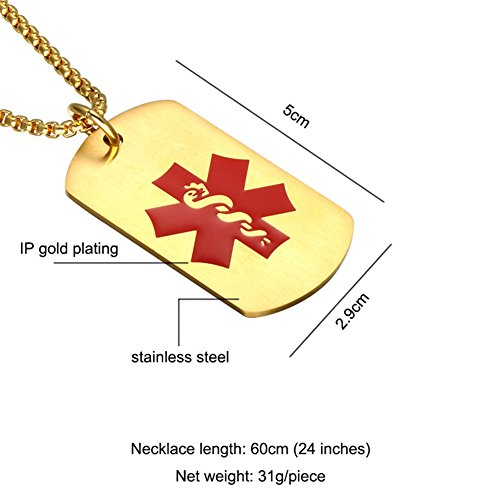 Comfybuy CF Free Engraving Blank Stainless Steel Medical Alert Disease Awareness Identification Necklace Gold Military Dog Tag Pendant,Emergency SOS Daily Life Saver for Kids,Grandpa,Grandma,Parents by Comfybuy (Image #3)