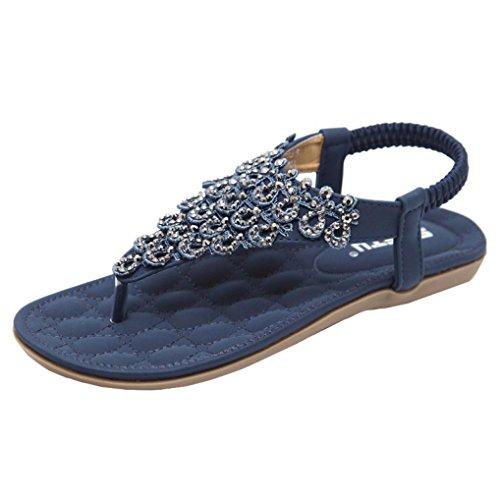 (Perman Women Fashion Sandals, SIKETU Bohemia Open Toe Elasticity Closure Flat Bead T-Strap Slippe Sandals (8, Blue))