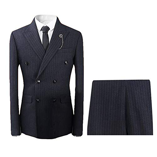 Mens Plaid 3 Piece Suits Double Breasted Retro Slim Dress ()
