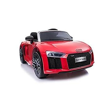ATAA CARS Audi R8 Spyder Licenciado 12v Asiento Piel, Ruedas de Goma - Coche eléctrico para niños - Rojo: Amazon.es: Hogar