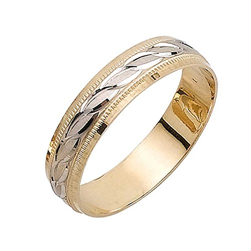 18K Two Tone Gold Wave Women's Wedding Band (5mm) Size-5.5c1 (Gold Tone Two Wave)