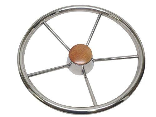 Pactrade Marine Boat Stainless Steel Five Spoke Steering Wheel with Bakelite Cap, 13.75'' L by Pactrade Marine (Image #2)