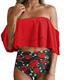 Tempt Me Women Two Piece Off Shoulder Ruffled Flounce Crop Bikini Top with Print Cut Out Bottoms Red Rose L