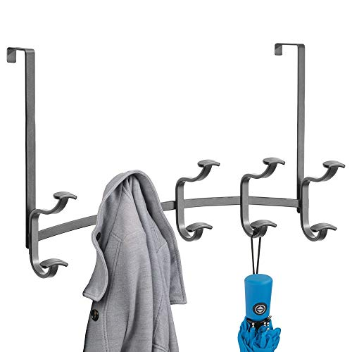 mDesign Decorative Metal Over Door 10 Hook Storage Organizer Rack - for Coats, Hoodies, Hats, Scarves, Purses, Leashes, Bath Towels, Robes, Men's and Women's Clothing - Graphite Gray