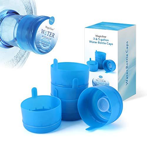 Magicfour 5PCS 55mm 3 & 5 Gallon Non-Spill Caps,Replacement Water Bottle Snap On Cap Anti Splash Peel 5 Piece (5 Gallon Water Bottle Caps No Spill)