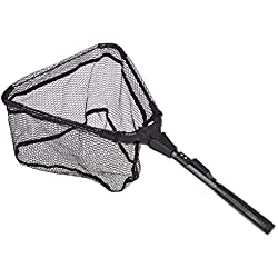 Fishing Net Fish Landing Net, Foldable Collapsible Telescopic Pole Handle Nylon Mesh, Safe Fish Catching or Releasing (30cm, Black)