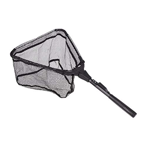 certainPL Lightweight Fishing Net Fish Landing Net with Foldable Collapsible Telescopic Pole Handle Safe Catch & Release Net (12-inch)
