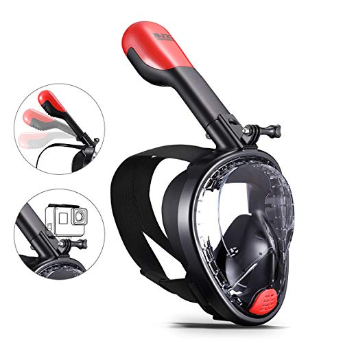 BJX Full Face Snorkel Mask,180° Panoramic View, Free Breathing,Protect Against Dangerous CO2 Build-Up,Dry Top Set Anti-Fog Anti-Leak Universal Size for Adults (Black)