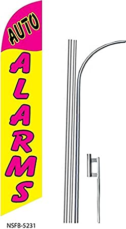 four AUTO ALARMS 15 Swooper #8 Feather Flags KIT 4