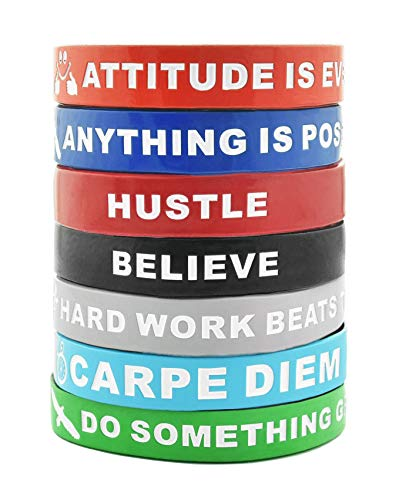 (Motivational Silicone Wristbands with Inspirational Messages | 7-Piece Silicone Rubber Stretch Bracelets for Men, Women and Teens. Attitude is Everything, Carpe Diem, Imagine Believe Achieve and More.)
