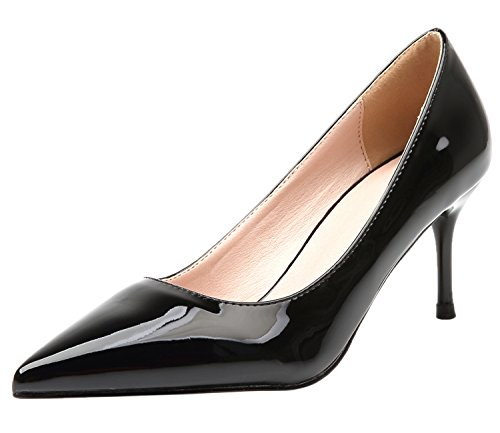tac estrecha Fiesta De Color Zapatos Tacones altos de punta On puro Slip Mujer UA7OwqdO