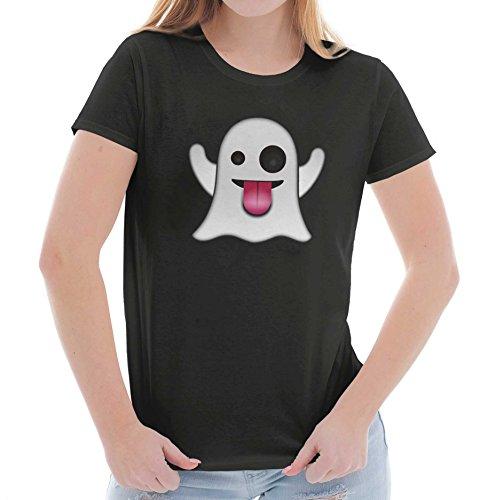 Emoji Ghost Snap Story Scary Halloween Ladies T Shirt ()